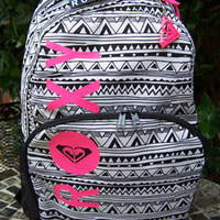ROXY Aztec Tribal Black & White Neon Pink School Backpack Book Bag NWT