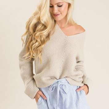 Allie Taupe Knit Sweater