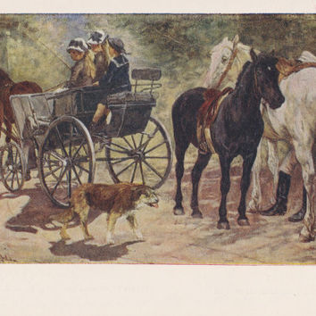 Paintings with wagons, carriages, tarantasses. Collection / Set of 17 Vintage Prints, Postcards -- 1950s-1980s