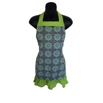 Floral Kids Apron // Gray, Blue & Citron Joy Mini Floral with Green Ruffles // Size 4-6-8-Young Adult