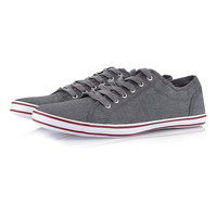 Grey 'Warlord' Canvas Plimsolls - Best Sellers - Clothing - TOPMAN USA