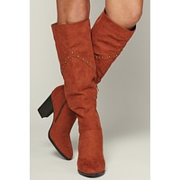 Tell Me About It Studded Knee High Boots (Chestnut)