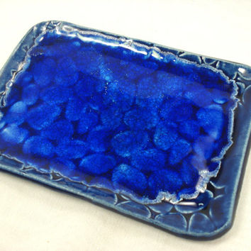 Monaco Blue Ceramic Dish with melted blue glass, Blue Beach Stones Dish, Trinket Dish, Jewelry Tray, Blue Ceramic Plate, Blue Pottery