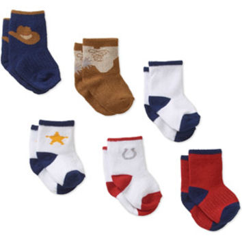 Walmart: Growing Socks Newborn Baby 0-24 Months 6 Pair Cowboy Assortment