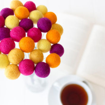 Wool Felt Ball Flowers. Pom Pom Flowers. Wool Craspedia. Billy Balls. Billy Buttons. Home Decorations.Orange.Yellow.Pink.Flower Arrangements