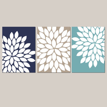 Navy Sepia Teal Wall Art Bedroom Kitchen Wall Art CANVAS or Prints Bathroom Wall Art Flower Wall Art Flower Burst Dahlia Set of 3