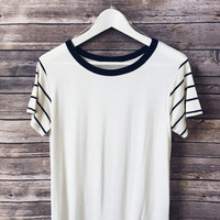 Stripe Sleeve Ringer Tee (Navy)