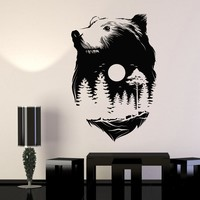 Vinyl Wall Decal Sticker Animals Bear Full Moon Nature Forest Wood Midnight Unique Gift (668ig)