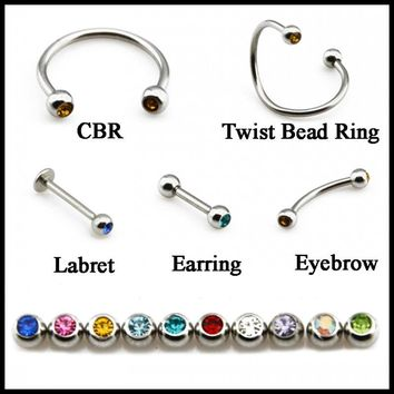 1PC 316l Surgical Steel Crystal Gem Mixed Color Horseshow Twist Spiral Bead Ring Labret Stud Piercing Eyebrow Earrings Jewelry