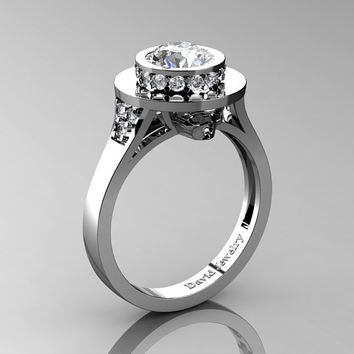 Top Hat Skull 14K White Gold 1.0 Ct Rissian Ice CZ White Diamond Solitaire Engagement Ring R1025-14KWGDRICZ