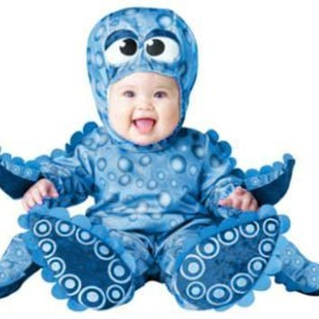 Free shipping baby party cosplay Photographic blue Tiny Tentacles Octopus octopuses Costume Infant Cartoon Jumpsuit clothing