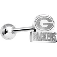 Officially Licensed NFL Cut Out Green Bay Packers Barbell Tongue Ring | Body Candy Body Jewelry
