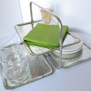 Art Deco Serving Tray, Silver Plate Three Tiered Folding Cocktail Tray, Leo Schlesinger Co. New York