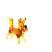 Vintage Blown Glass Dog Figurine Amber Scottish Terrier Mid Century