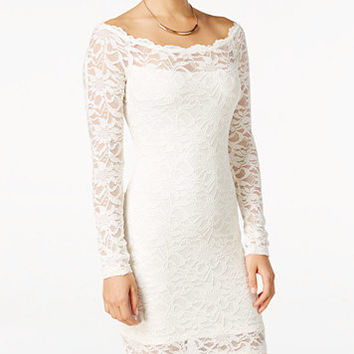 Jump Juniors' Off-The-Shoulder Lace Bodycon Dress | macys.com