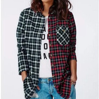 Spliced Flannel Shirt