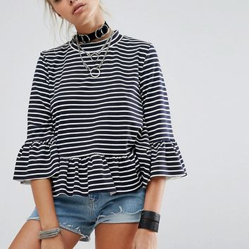 Milk It Vintage Extreme Oversized Peplum Top In Stripe at asos.com