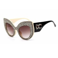 2019 Newest Fashion women cat eye sunglasses vintage oversize Brand Designer Bling Diamond Sun glasses men Female shades Women