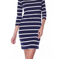 First Mate Striped 3/4 Sleeve Dress - Navy + White