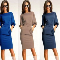 2015 Office dress Long Sleeve dress Women Casual Vintage Evening Celeb Party Elegant Bodycon Sexy Club Dress = 1931864452