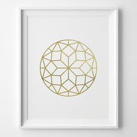 Geometric Circle Print, Modern Bedroom Decor, Modern Art, Matte Faux Gold Faceted Circle, Geometric Art, Gold and White Bedroom Art