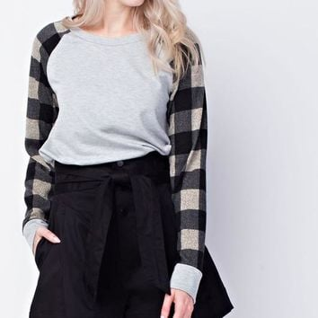 Buffalo Plaid Contrast Top - Charcoal and White