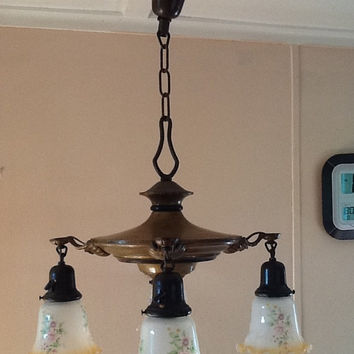 Vintage Chandelier Art Deco with Antique Shades Rewired Hanging Light