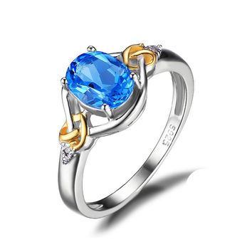 Love Knot 1.5ct Natural Blue Topaz Gemstone S925 Sterling Silver 18K Yellow Gold