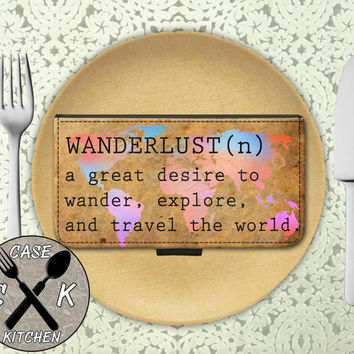 Wanderlust Definition World Map Rainbow Travel Explore Wallet Phone Case iPhone 4 and 4s and iPhone 5 and 5s and 5c iPhone 6 and 6 Plus +