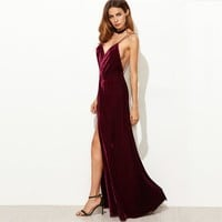 Burgundy Velvet V-Neck Backless Maxi Dress