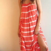 Robin Maxi Dress in Garis Orange by Indah