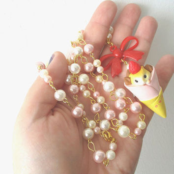 Kawaii Hamster Crepe Necklace - Cute Food miniatures