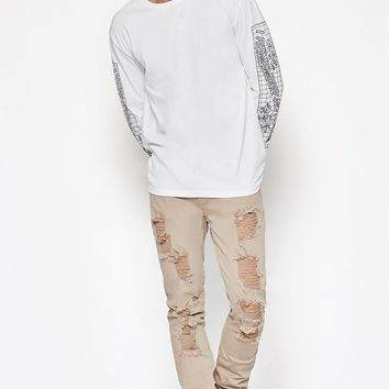 PacSun Skinny Comfort Stretch Destroy Tan Jeans at PacSun.com
