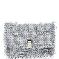 Calfskin Leather and Frayed Tweed Lunch Bag Clutch
