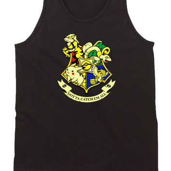 Pikachu Pokemon Hogwarts Logo Mens Tank Top
