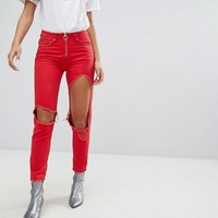 Missguided Ripped Ring Detail Jeans at asos.com