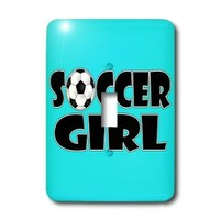 lsp_181850_1 Janna Salak Designs Sports - Soccer Girl Black and Aqua Blue - Light Switch Covers - single toggle switch