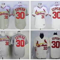 Retro 30 Orlando Cepeda Jersey Baseball St. Louis Cardinals Flexbase Jerseys Cooperstown Cool Base Pullover Button White Grey Blue Red Cream