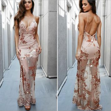 Fashion deep V sequins sexy dress dress harness dress