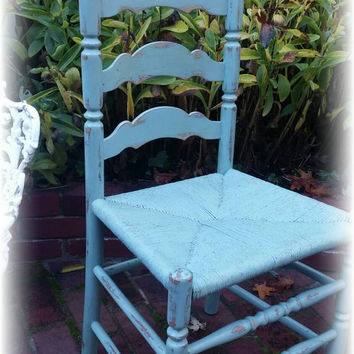 Vintage Upcycled shabby chic, cottage, chair, french blue, distressed, chippy, rush seat, solid wood, rustic, country cottage, handpainted