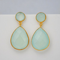 Natural Aqua Chalcedony Vermeil Gold bezel set Earrings - Double Drop Earrings - March Birthstone