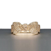 Bow Napkin Ring in Silver or Gold Plate with Swarovski Crystals