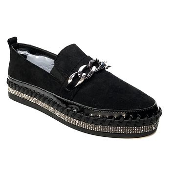Italina Black Suede Crystal Chained Espadrilles