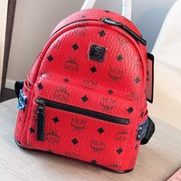 MCM New fashion more letter print leather backpack bag women Red