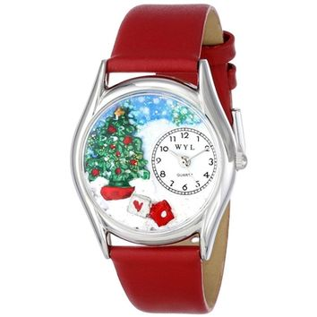 SheilaShrubs.com: Women's Christmas Tree Red Leather Watch S-1220001 by Whimsical Watches: Watches