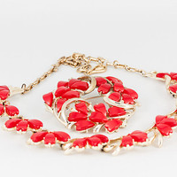 Vintage signed Coro red thermoset necklace brooch set. Elegant bow floral mid-century 1950s jewelry demi-parure set ~ Christmas, Valentine's