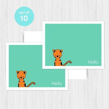 Tiger Hello Greeting Card Set Blank Handmade Notecards Note Cards Notes Boxed Set Stationery Gifts For Friend Her Teacher Hostess Pack of 10