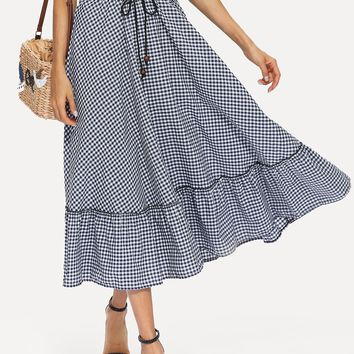 Ruffle Hem Drawstring Waist Gingham Plaid Skirt