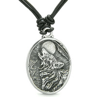 Amulet Howling Wolf Moon Wild Powers Lucky Charm Leather Pendant Necklace