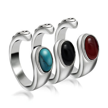 Stylish Jewelry Gift New Arrival Shiny Vintage Strong Character 3-color Gemstone Ring [6542629187]